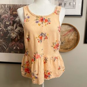American Eagle Outfitters Peach Floral Tank Top